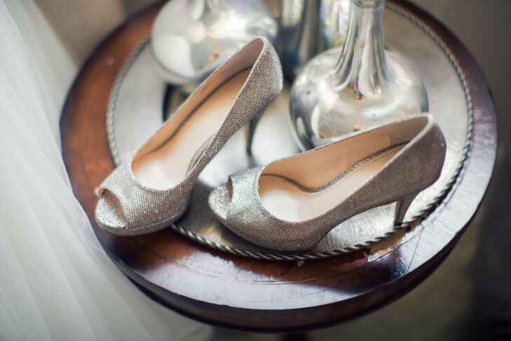 Silver Peep Toe Bridal Shoes