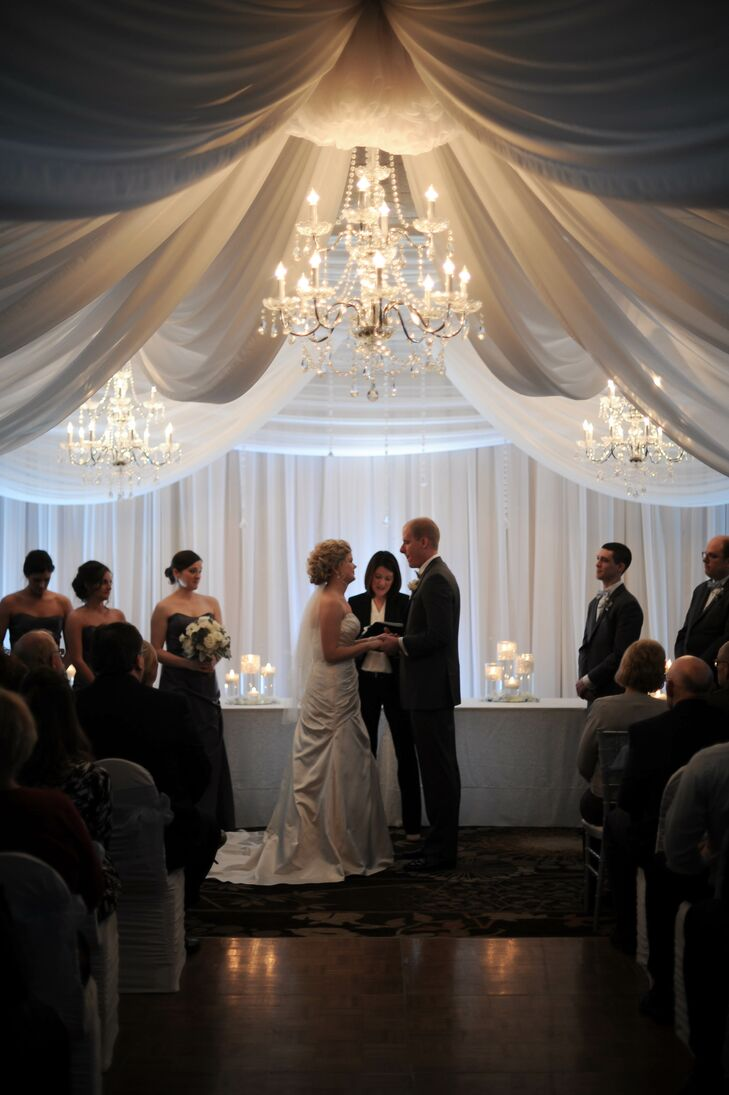 Romantic Fabric and Crystal Chandelier Wedding Arch