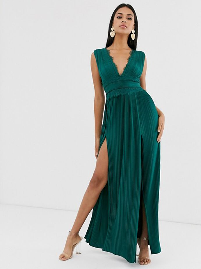Emerald green maxi dress with pleated skirt and lace bodice