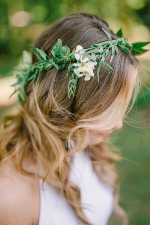 Greenery Laurel Flower Crown With White Flowers