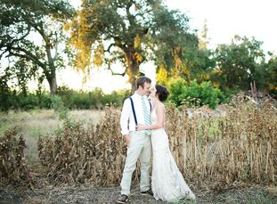 """This couple from the desert of Palm Springs, California, had their """"destination wedding"""" up north at Gale Vineyards in Durham, California, for a mini-"""