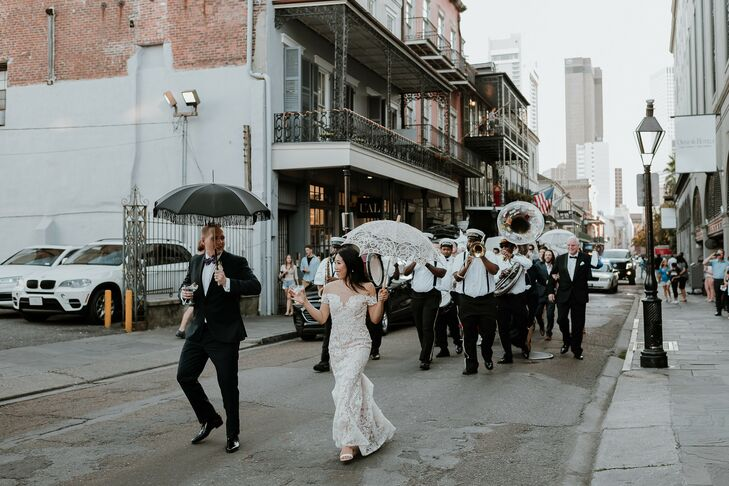 Traditional Second Line with Bride, Groom, Band and Parasols