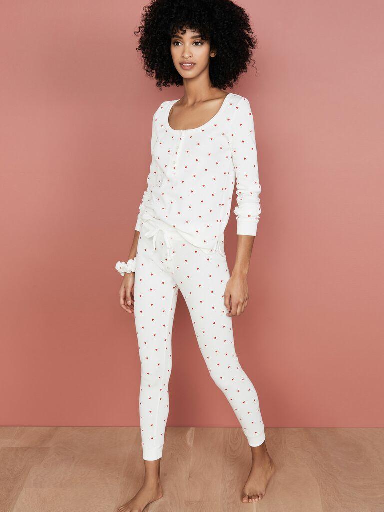 heart print thermal pajamas