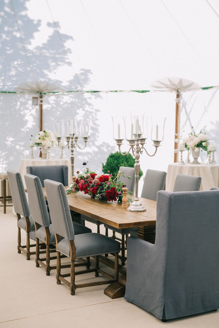 Gray Studded Highback Chairs at Wood Farm Tables