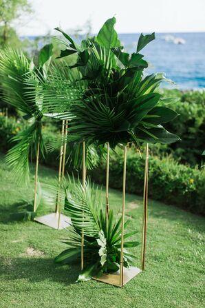 Tropical Hawaiian Greenery in Tall Gold Vases
