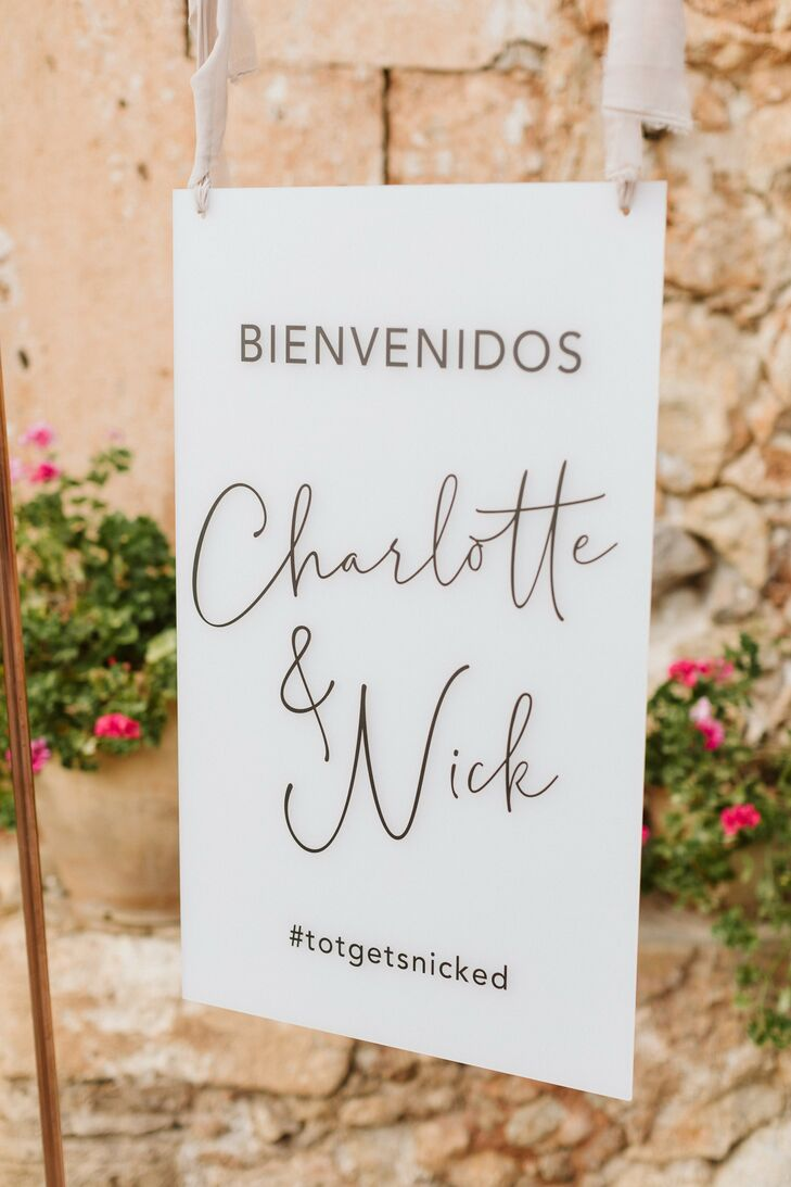 Welcome Sign for Wedding at Finca Es Cabas in Mallorca, Spain