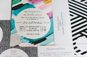 Modern Brushstroke Invitations with Striped Envelopes