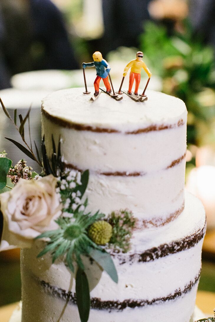 Naked Wedding Cake with Skiing Cake Topper