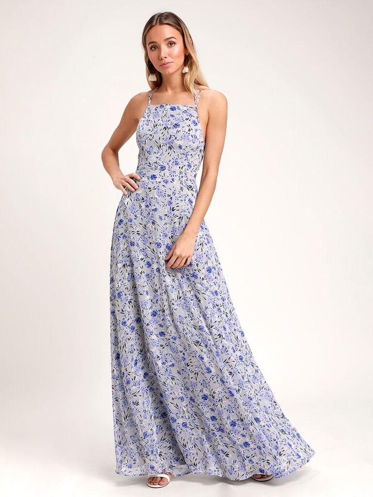 Blue floral print bridesmaid dress with strappy back