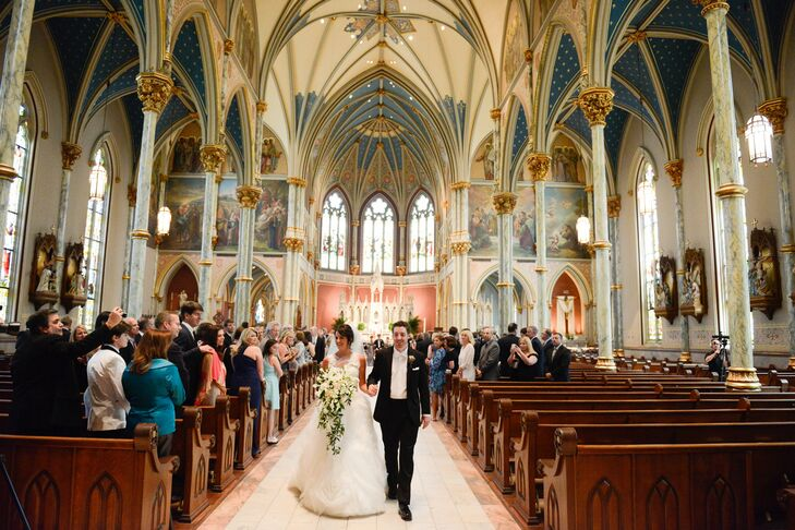 """All my life, I had dreamed of walking down the long aisle at one of the biggest and most beautiful churches the South has to offer,"" Amanda says. She got her wish: The Cathedral of St. John the Baptist, where she married Chris, is as grand and elegant as she imagined."