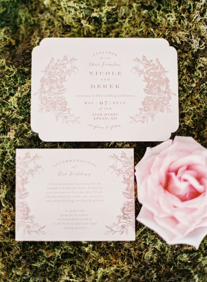 "Nicole created the pale pink invitations, inspired by her love of ""Pride and Prejudice"" and ""Alice's Adventures in Wonderland."""