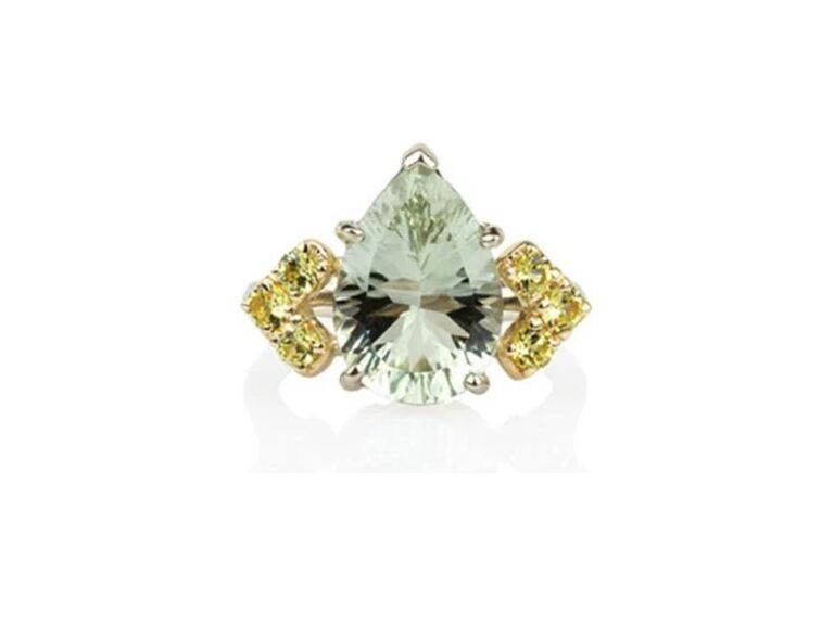 Colored engagement ring with green amethyst pear center stone with yellow sapphire side stones