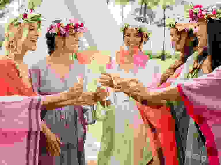bohemian bridal shower with flower crowns