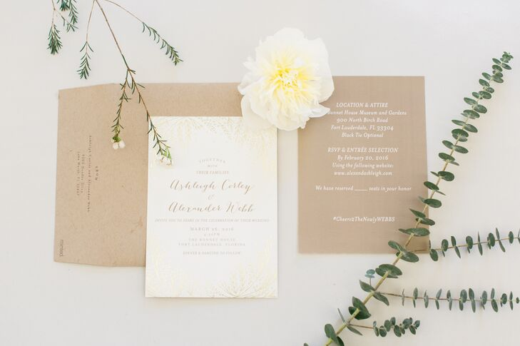 Ashleigh and Alex introduced guests to their natural, earthy theme with their elegant invitation suite which included their own hashtag, #Cheers2TheNewlyWebbs.