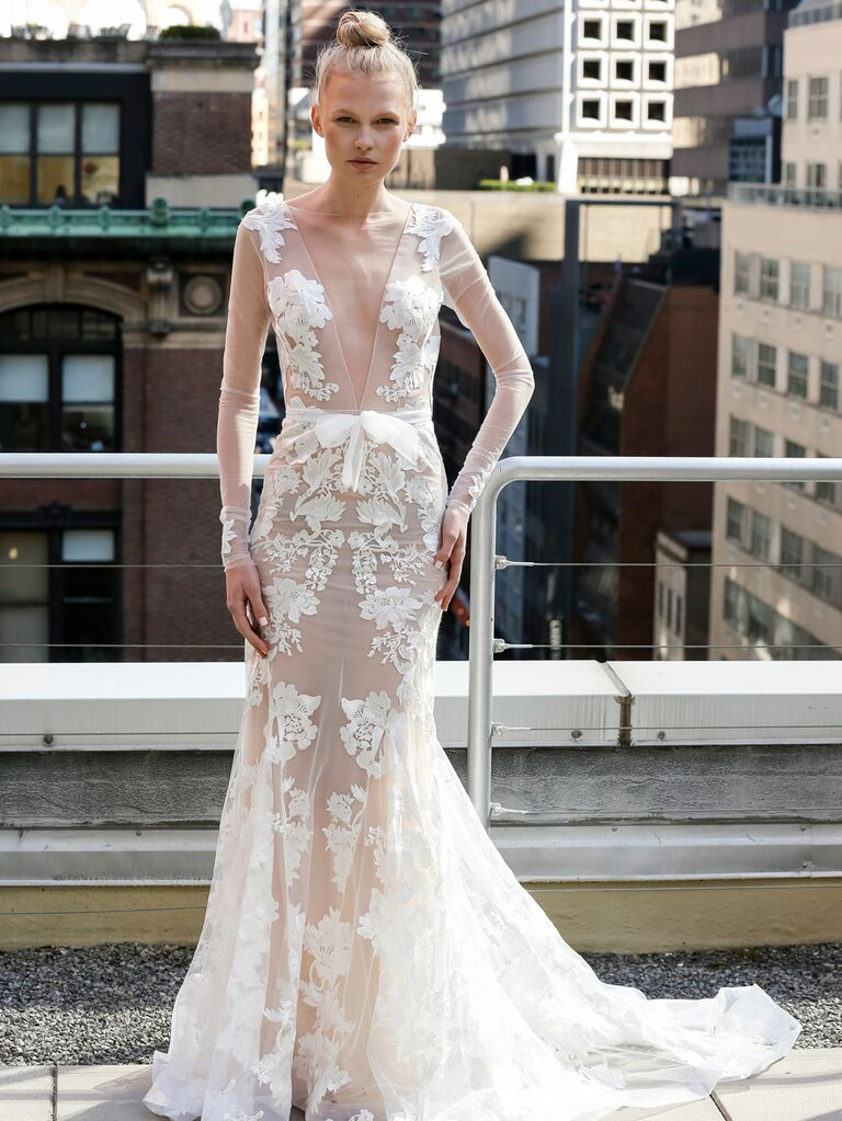 Eisen-Stein Spring 2020 Bridal Collection wedding dress with sheer details and appliqués