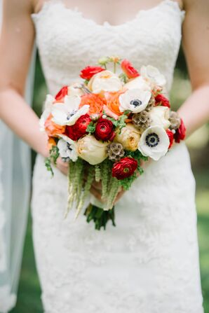 White, Red and Orange Bridal Bouquet