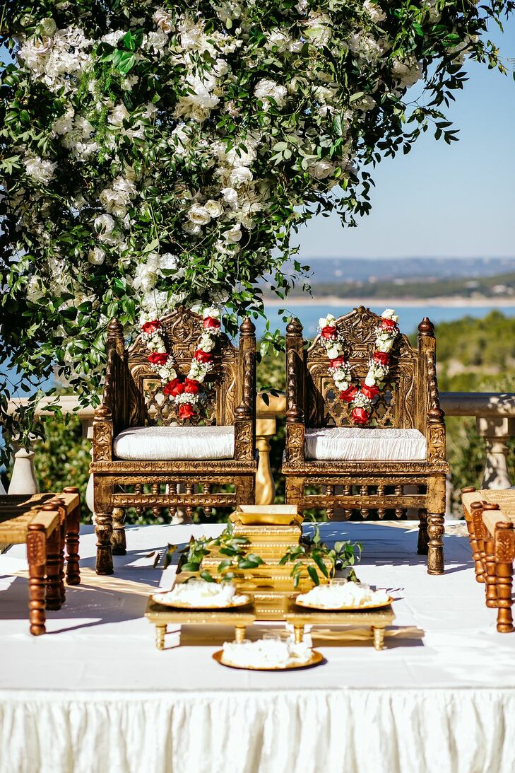 Indian Wedding Ceremony Setup Overlooking Lake in Austin, Texas
