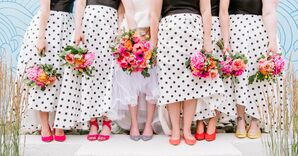 Black-and-White Polka-Dot Bridesmaid Dresses and Pink Bouquets