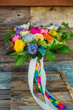 Bright Bouquet with Rainbow Ribbon Streamers
