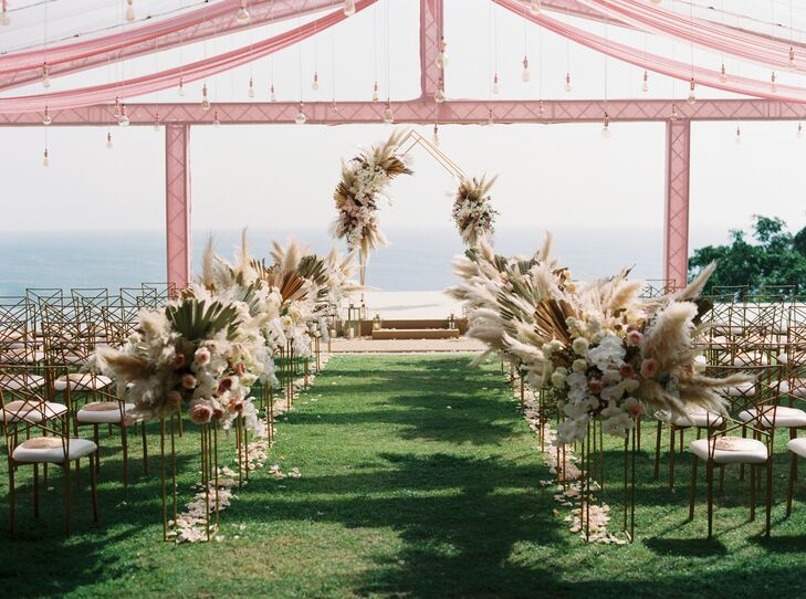Poolside Ceremony with Pampas Grass Aisle Decorations