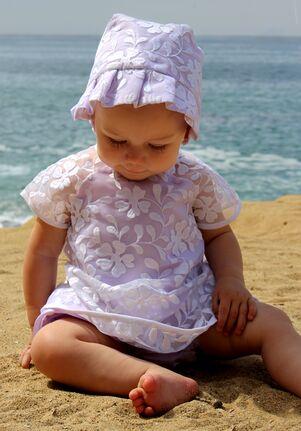 Isabel Garretón Violets White Flower Girl Dress