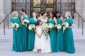 Long Turquoise Mismatched Bridemaid Dresses