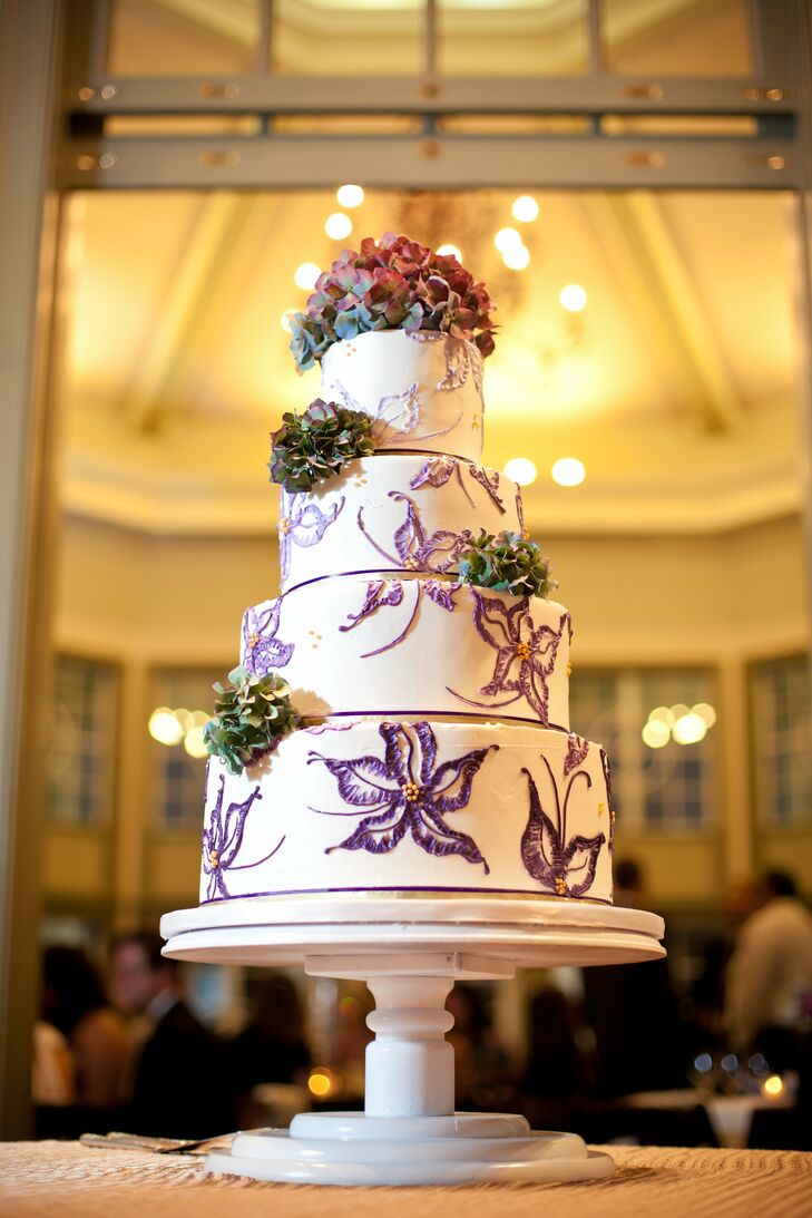 Flower-Patterned Wedding Cake