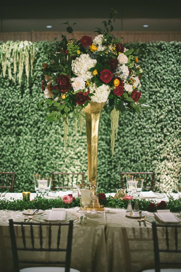 Cascading Hydrangea, Rose and Amaranthus Centerpiece