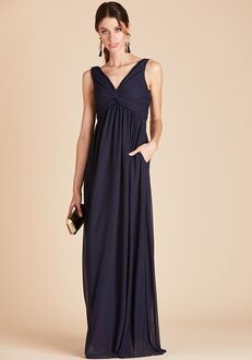 Birdy Grey Lianna Mesh Dress in Navy V-Neck Bridesmaid Dress