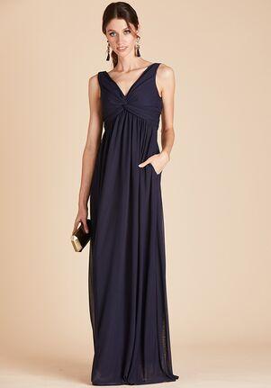 Birdy Grey Lianna Mesh Dress in Navy V-Neck Bridesmaid Dress