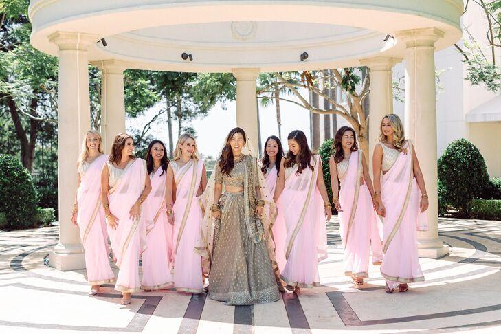 Bridesmaids in Pink Traditional Indian Sarees