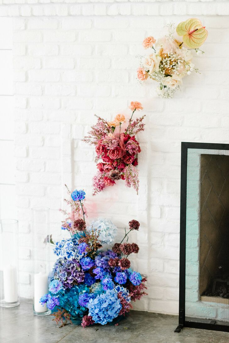 Colorful, Whimsical Wall Flower Arrangements with Peonies and Hydrangeas