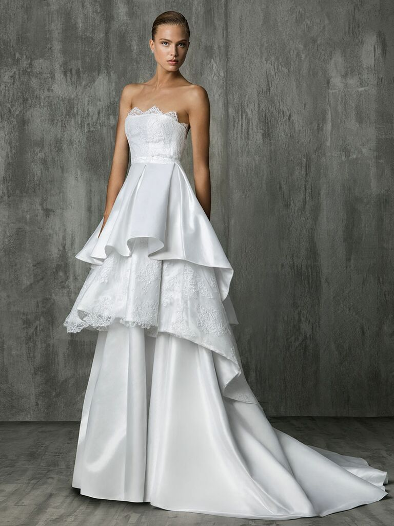 Victoria Kyriakides Fall 2018 wedding dresses with a tri-layer removable skirt