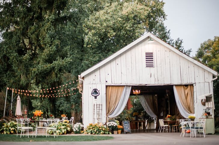 Rustic Barn Venue with String Lights and Draping