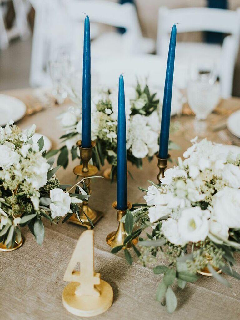 most popular wedding colors dark blue candles