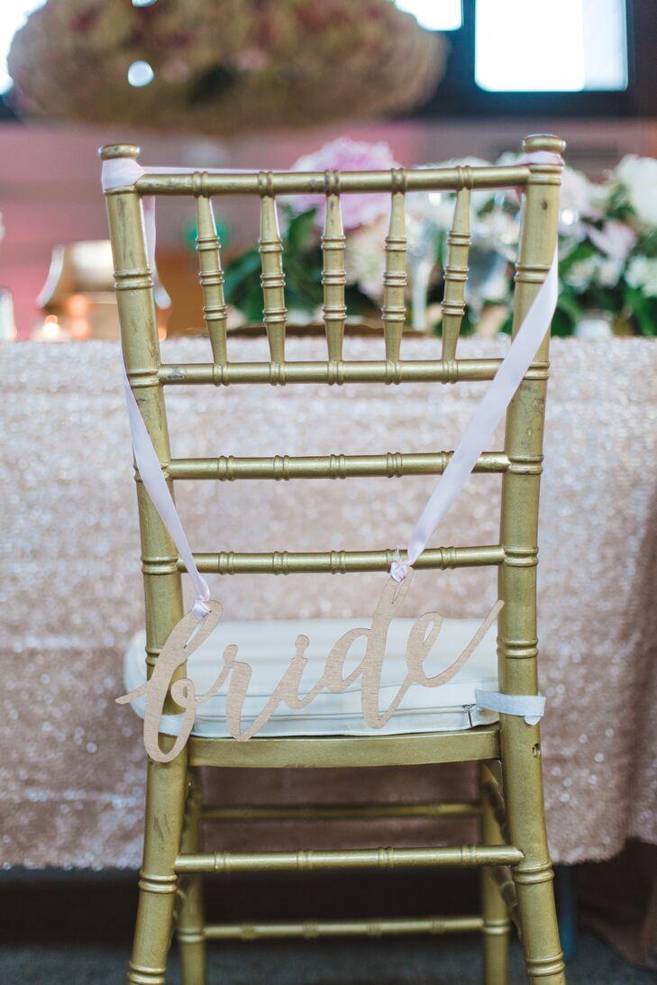 Gold Chiavari Chair Calligraphy Sign