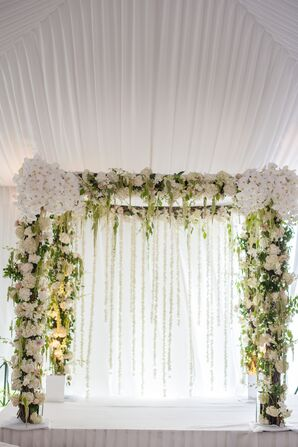 Modern White and Green Chuppah with Orchids