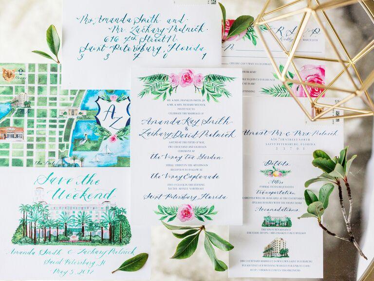 wedding stationery trends aqua