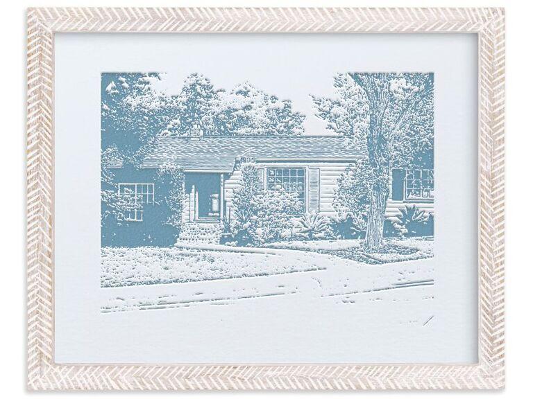 Custom letterpress print of couple's home in decorative frame