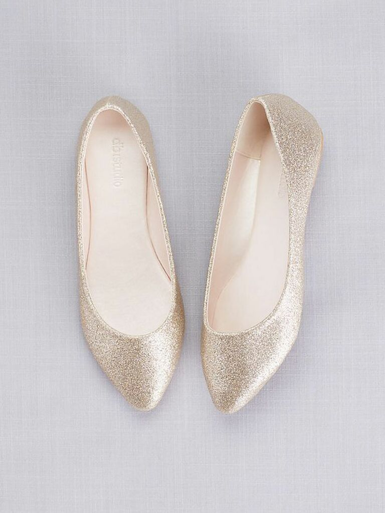 sparkly gold wedding flats