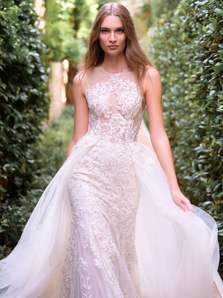 Trumpet Wedding Dress with Tulle Overlay