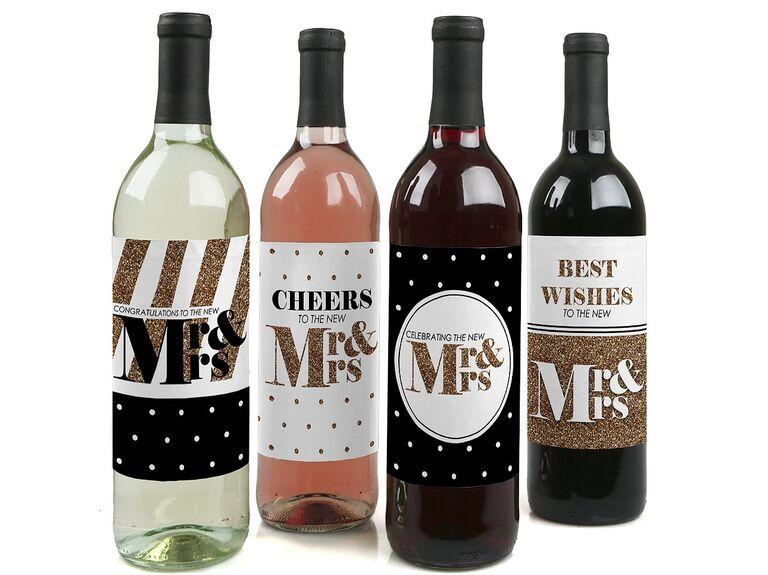 Mr. & Mrs. wine bottle label stickers