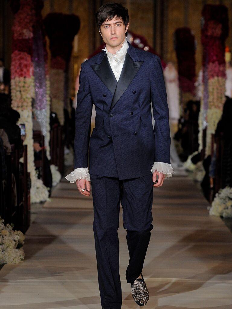 Joseph Abboud navy menswear groom look