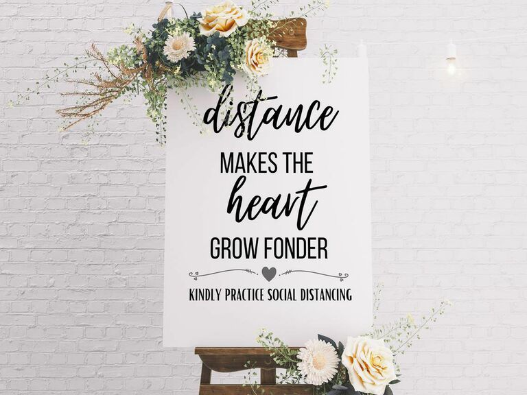 keep your distance social distancing wedding sign