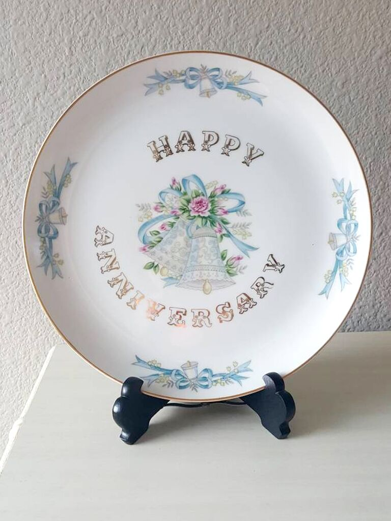 263e3d62ffa ChicAntiqueStudio hand-painted vintage happy anniversary plate