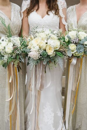 White Winter Wedding Bouquets with Ribbon