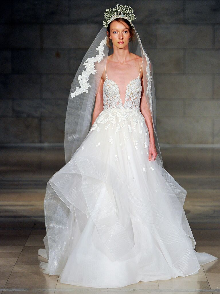 Reem Acra Fall 2018 plunging V-neck embroidered lace wedding dress with gazar skirt