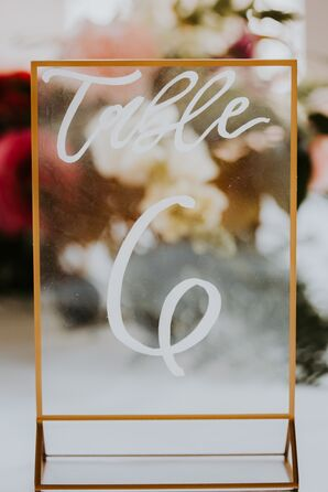 Acrylic Table Number with Gold Frame and Calligraphy