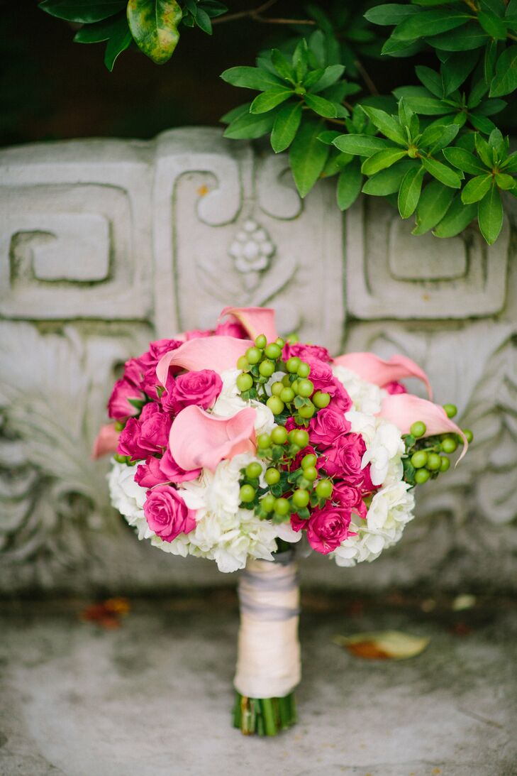 Pink Calla Lily and Rose Bouquet with Hypericum Berries