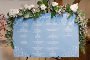 Winter Pine and Rose Seating Chart Garland
